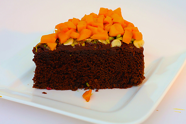 Chocolate Cake with Mangoes, an exotic combination.